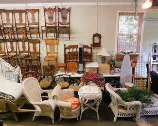 More wicker, chairs, and lamps