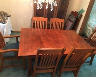 Oak Mission dining set with 2 leaves, 6 chairs