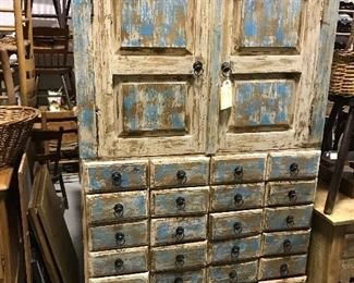 Unusual painted 40 drawer cabinet