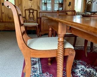 1951 Cherry Dining Room Set with Spindle Legs, Gate Leg Drop Leaf