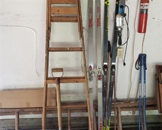 Ladders, shovel, cross country skiis