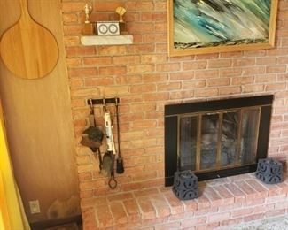 Fireplace tools, art, more