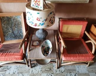 Chairs, end table, lamp, art