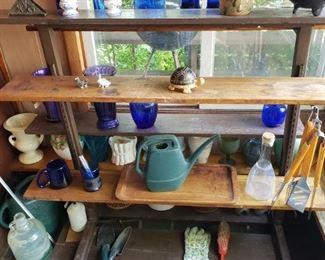 Blue glass vases, more