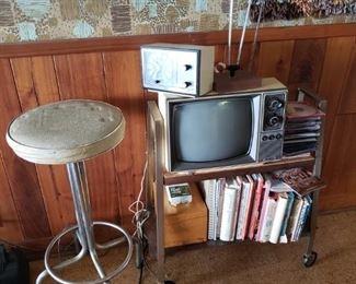 Vintage stool, cart and mini TV, cookbooks