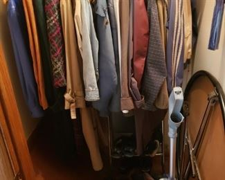 Card table, vacuum, coats