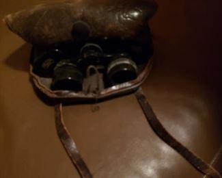 Vintage binoculars in soft leather case
