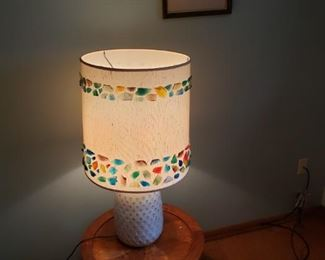 Lamp with hand done colored glass embellishments, end table