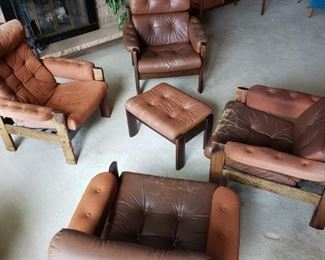MCM chairs and ottoman