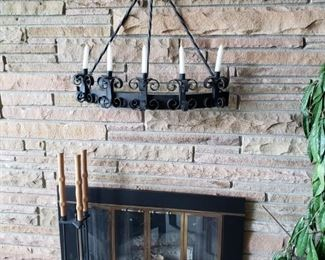 Fireplace tools,  hanging candelabra