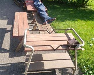 Cc skiis, outdoor furniture
