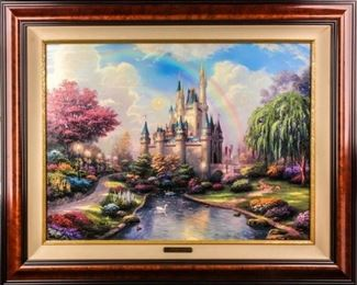 Lot 398 - Art Disney Cinderella's Castle Thomas Kinkade