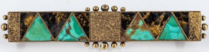 Lot 35 - Jewelry 14kt Gold Shreve & Co. Turquoise Brooch