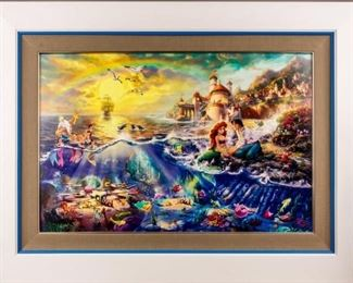 Lot 236 - Art Disney The Little Mermaid Thomas Kinkade COA