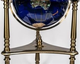 Lot 79 - Tall Lapis Semi-Precious Gemstone Globe on Stand