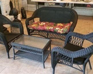 black wicker outdoor furniture