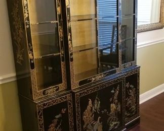"Amazing Asian lacquer china cabinet, lit, measures 55"" wide, 80"" tall, 14"" deep. In excellent condition."