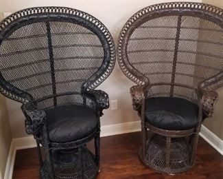 Peacock chairs, sold individually, one black, one brown