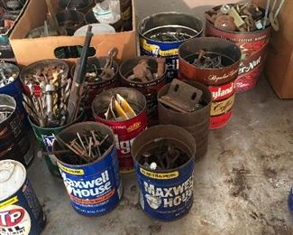 Cans of nails, screws, etc.