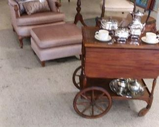 Tea Cart $150, pink chair and foot stool $35 , round table $35 , accent chair $25