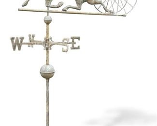 LOT 1 - VINTAGE WEATHER VANE WITH JOCKEY AND HORSE