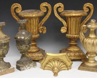 LOT 5 - LOT OF (6) CONTINENTAL GESSO ORNAMENTAL CARVINGS
