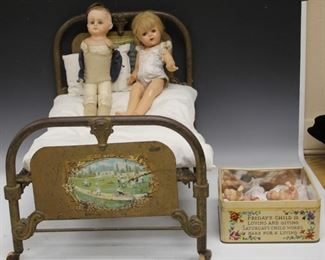 LOT 7 - ASSORTMENT OF VINTAGE DOLLS, CAST IRON DOLL BED