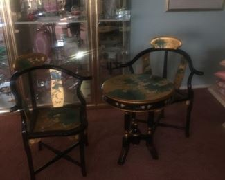 Black lacquer inlayed  Asian inspired table chairs set.
