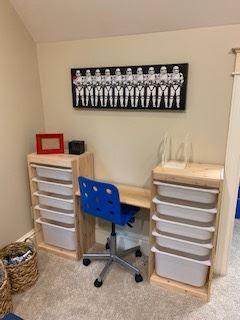 Desk w/chair w/storage for legos