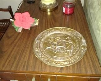 mid century end table, brass plate