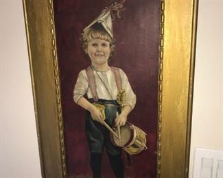 Early Americana Patriotic Boy Oil Painting