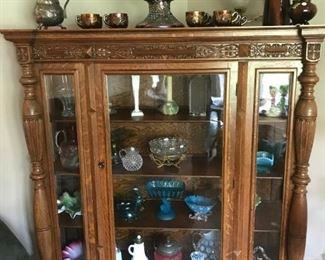 Antique Ornate Tiger Oak Carved China Display Cabinet