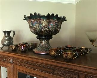 Sign Northwood Grape and Cable Banquet Size Punch Bowl Stand and 12 Cups