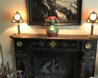 Early Black and White Oil Painting, Zsolnay Art Pottery Vase, Antique Marble Fireplace Surround, Pair of Stained Glass Bronze Lamps, Wooden Carved Figures, Spinning  Wheel