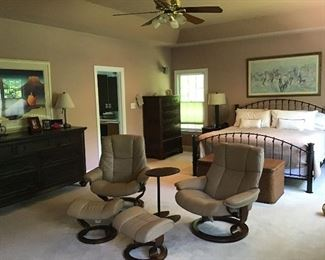 Ekornes chairs - $1,200 each or $2,000 for both with table!