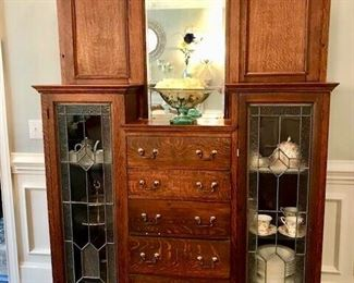 """large old oak china cabinet, 81"""" high 59"""" wide 14.5"""" deep."""