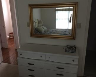 White dresser and large mirror