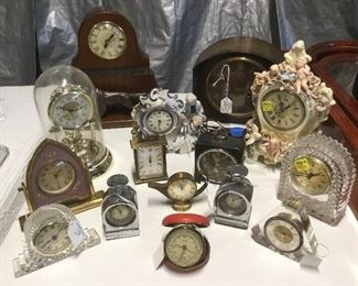 Vintage table and mantel clocks.