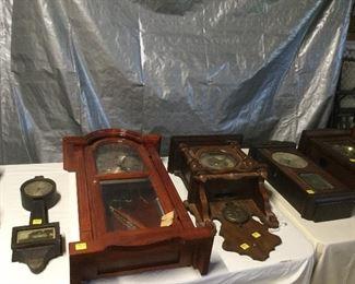 Antique wall clocks.