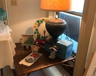 Mid century coffee table and nice misc items and books