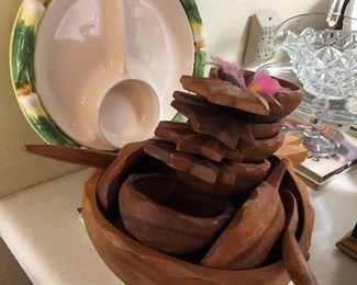 Monkey pod wood salad set