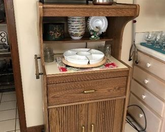Kitchen cart Toaster oven  Canisters Bowls........