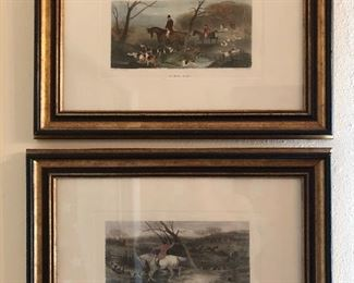 Pr. of old lithographs( fox hunt)