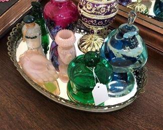 Signed art glass,music box,scent bottles.....