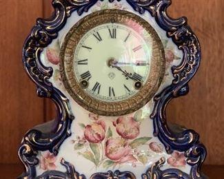 1902 Ansonia clock in Waco porcelain case