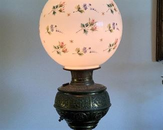 Victorian piano lamp, brass and hand painted shade floor lamp