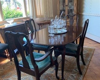 Mahogany dining room table and chairs with two leaves