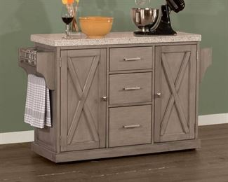 Hillsdale Furniture Brigham Kitchen Island with Granite Top in Grey