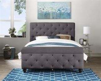Homelegance Titan Importer Upholstered Bed Frame in Grey (Queen)