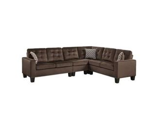 "Homelegance Lantana 84"" x 107"" Fabric Sectional Sofa, Brown"